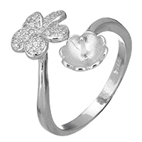 925 Sterling Silber Ringfassung, Blume, offen & Micro pave Zirkonia, 16mm, 0.7mm, Größe:6.5, 5PCs/Menge, verkauft von Menge