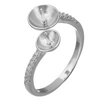 925 Sterling Silber Ringfassung, offen & Micro pave Zirkonia, 5x5mm, 17x5mm, 0.8mm, Größe:5.5, 5PCs/Menge, verkauft von Menge