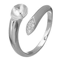 925 Sterling Silber Ringfassung, offen & Micro pave Zirkonia, 3mm, 6mm, 0.7mm, Größe:5, 5PCs/Menge, verkauft von Menge
