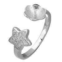 925 Sterling Silber Ringfassung, Stern, offen & Micro pave Zirkonia, 8x3mm, 8x4mm, 0.7mm, Größe:6.5, 5PCs/Menge, verkauft von Menge