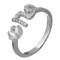 925 Sterling Silber Ringfassung, offen & Micro pave Zirkonia, 6.5x2mm, 0.7mm, Größe:6, 5PCs/Menge, verkauft von Menge