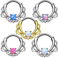 Edelstahl Brustpiercing Ring, mit SteinKorn, plattiert, für Frau & mit Strass, gemischte Farben, 15x16mm, 10x1.2mm, 10PCs/Menge, verkauft von Menge
