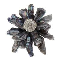 Seeohr Muschel Brosche, mit Ton & Messing, Blume, Platinfarbe platiniert, 45x50x22mm, verkauft von PC