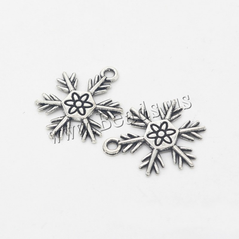 Buy Zinc Alloy Flower Pendants Snowflake antique silver color plated Christmas jewelry nickel lead & cadmium free 18x24x2mm Hole:Approx 1.5mm 10 Sold Lot