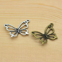 Schmetterling Zinklegierung Schmuckverbinder, plattiert, 1/1-Schleife, keine, frei von Nickel, Blei & Kadmium, 19x27x2mm, Bohrung:ca. 1.5mm, 50PCs/Menge, verkauft von Menge