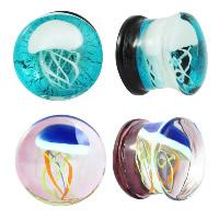 Art und Weise Piercing Tunnel, Glas, flache Runde, verschiedene Größen vorhanden & verschiedene Muster für Wahl & für Frau, 2PCs/Menge, verkauft von Menge