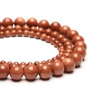Goldstein Perlen, Goldsand, rund, synthetisch, verschiedene Größen vorhanden, Bohrung:ca. 1mm, verkauft per ca. 15 ZollInch Strang