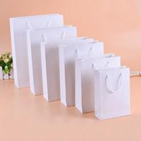 Mode Geschenkbeutel, Papier, mit Nylonschnur, Rechteck, verschiedene Größen vorhanden, weiß, 100PCs/Menge, verkauft von Menge