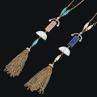 Zinklegierung Pullover Halskette, mit Synthetische Türkis, mit Verlängerungskettchen von 5cm, goldfarben plattiert, Twist oval & für Frau, keine, frei von Blei & Kadmium, 800mm, Länge:ca. 31 ZollInch, 3SträngeStrang/Tasche, verkauft von Tasche