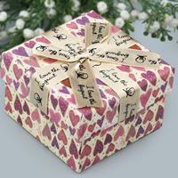 Karton Halskettenkasten, mit Satinband, Quadrat, mit einem Muster von Herzen & mit Brief Muster, 90x90x60mm, 10PCs/Menge, verkauft von Menge
