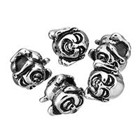 Buddhistische Perlen, Edelstahl, Buddha, ohne troll & Schwärzen, 10.50x10x11.50mm, Bohrung:ca. 4.5mm, 10PCs/Menge, verkauft von Menge