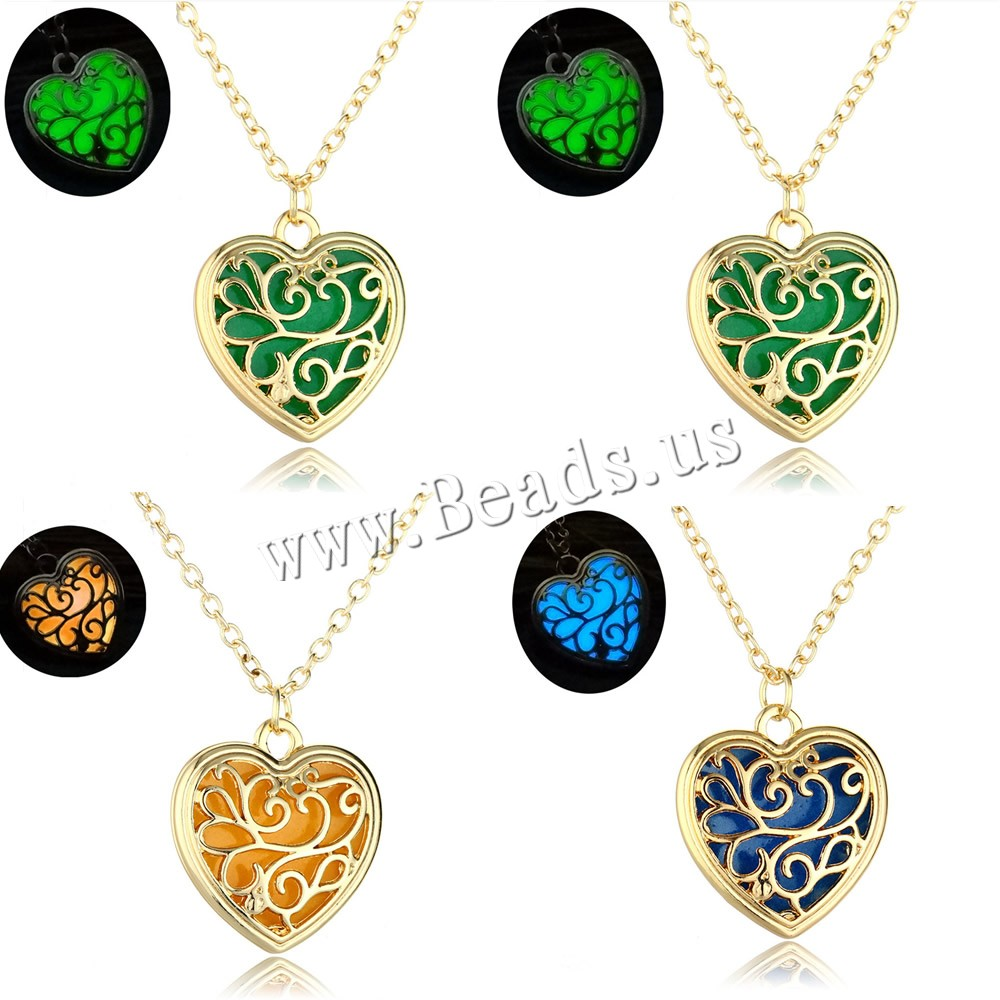 Buy Luminated Necklace Zinc Alloy Epoxy Sticker & iron chain 5cm extender chain Heart gold color plated oval chain & woman & hollow colors choice lead & cadmium free 20x20mm Sold Per Approx 17.5 Inch Strand