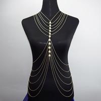 Körperschmuck-Kette, Zinklegierung, mit Kunststoff Perlen, goldfarben plattiert, Oval-Kette & für Frau, frei von Nickel, Blei & Kadmium, verkauft per ca. 15.5 ZollInch Strang