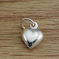 Messing Herz Anhänger, versilbert, frei von Blei & Kadmium, 8.5x11mm, Bohrung:ca. 2.5-3mm, verkauft von PC