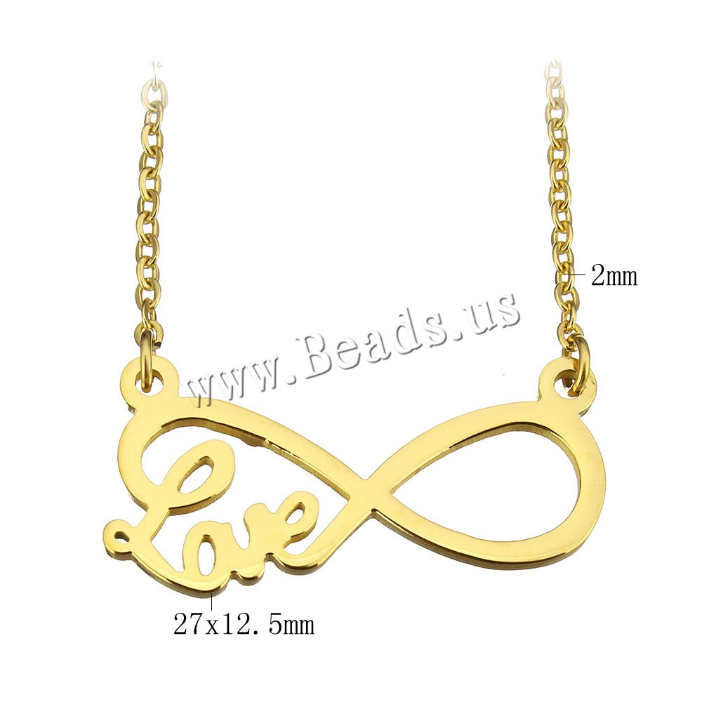 Buy Stainless Steel Jewelry Necklace 2lnch extender chain Infinity word love gold color plated oval chain & woman 27x12.5mm 2mm Sold Per Approx 17 Inch Strand