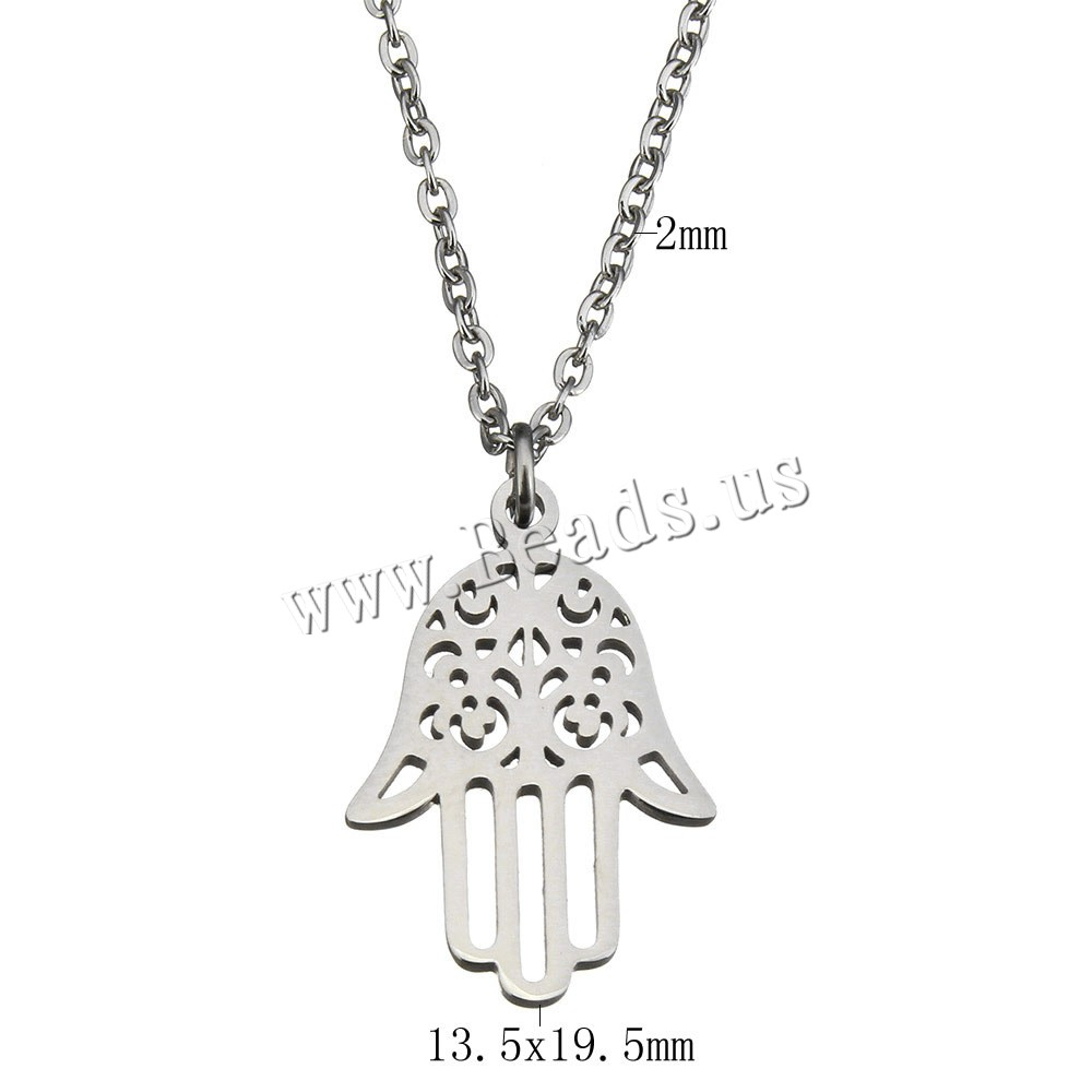 Buy Stainless Steel Jewelry Necklace 2lnch extender chain Hamsa oval chain & woman original color 13.5x19.5mm 2mm Sold Per Approx 18 Inch Strand