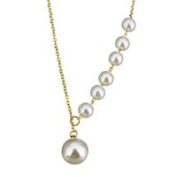 Glasperlen Halsketten, Edelstahl, mit Glasperlen, mit Verlängerungskettchen von 2lnch, rund, goldfarben plattiert, Lariat Stil & Oval-Kette & für Frau, 10mm, 6mm, 2mm, verkauft per ca. 17 ZollInch Strang