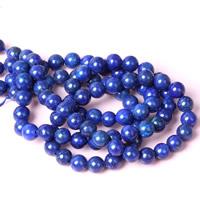 natürlicher Lapislazuli Perle, rund, verschiedene Größen vorhanden, Bohrung:ca. 1mm, verkauft per ca. 15 ZollInch Strang
