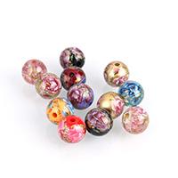 Harz Schmuckperlen, rund, Drucken, gemischte Farben, 10x9.50x9.50mm, Bohrung:ca. 2mm, 10PCs/Menge, verkauft von Menge