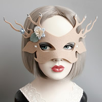 Filz Maske, mit Seidenspinnerei & Satinband & Harz Strass, Geweihe, unisex & Halloween Schmuck & facettierte, Kaffeefarbe, frei von Nickel, Blei & Kadmium, 135mm, verkauft von PC