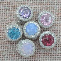 925 Sterlingsilber European Perlen, 925 Sterling Silber, mit Kristall, flache Runde, ohne troll & mit kubischem Zirkonia & facettierte & hohl, keine, Bohrung:ca. 4.5-5mm, verkauft von PC