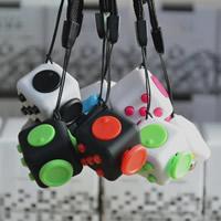 ABS Kunststoff Fidget Cube, mit Nylonschnur & Zinklegierung, Würfel, Platinfarbe platiniert, keine, frei von Nickel, Blei & Kadmium, 22x22mm, verkauft von PC