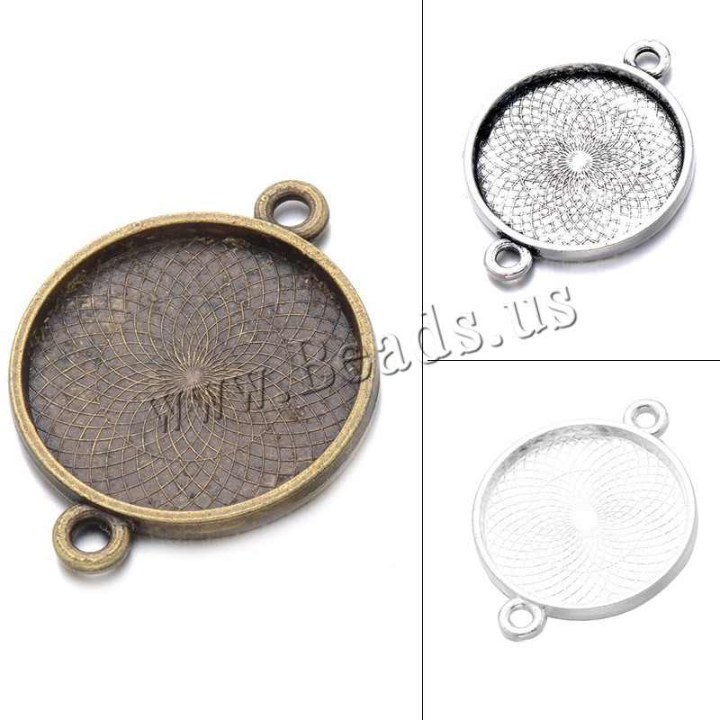 Buy Zinc Alloy Connector Setting Flat Round plated 1/1 loop colors choice lead & cadmium free 37.4x28mm Hole:Approx 2.9mm Inner Diameter:Approx 25mm 100PCs/Bag Sold Bag