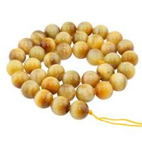 Tigerauge Perlen, rund, natürlich, verschiedene Größen vorhanden, goldfarben, Bohrung:ca. 1mm, verkauft per ca. 15 ZollInch Strang