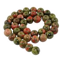 Unakite Perle, rund, natürlich, verschiedene Größen vorhanden, Bohrung:ca. 1mm, verkauft per ca. 15 ZollInch Strang