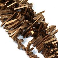 Natürlicher Quarz Perle, goldfarben plattiert, facettierte, 15-44x5-8x9-10mm, Bohrung:ca. 1mm, ca. 62PCs/Strang, verkauft per ca. 16 ZollInch Strang