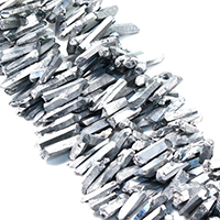 Natürlicher Quarz Perle, silberfarben plattiert, facettierte, 13-37x6-8x8-10mm, Bohrung:ca. 1mm, ca. 60PCs/Strang, verkauft per ca. 16 ZollInch Strang