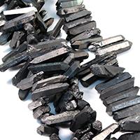 Natürlicher Quarz Perle, metallschwarz plattiert, facettierte, 21-48x8-11x7-12mm, Bohrung:ca. 1mm, ca. 50PCs/Strang, verkauft per ca. 16 ZollInch Strang