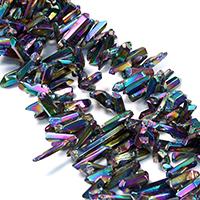 Natürliche Beschichtung Quarz Perlen, Natürlicher Quarz, bunte Farbe plattiert, facettierte, 10-34x4-8x5-10mm, Bohrung:ca. 1mm, ca. 74PCs/Strang, verkauft per ca. 16 ZollInch Strang