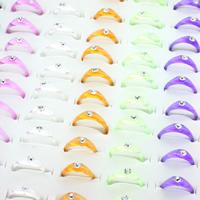 Kinder Finger Ring, Acryl, für Kinder & mit Strass, gemischte Farben, frei von Blei & Kadmium, 21x23x4mm, Größe:7.5, 100PCs/Box, verkauft von Box