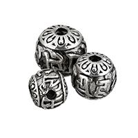 3-Loch -Korn- Guru, Zinklegierung, rund, antik silberfarben plattiert, om mani padme hum & verschiedene Größen vorhanden, frei von Nickel, Blei & Kadmium, 15PCs/Menge, verkauft von Menge