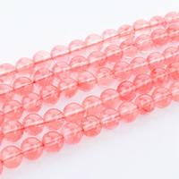 Kirsche Quarz Perle, rund, natürlich, verschiedene Größen vorhanden, Bohrung:ca. 1mm, verkauft per ca. 15 ZollInch Strang