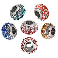 Strass Perlen European Stil, Lehm pflastern, Rondell, Edelstahl-single-Core ohne troll & mit Strass, keine, 12.50x8x12.50mm, Bohrung:ca. 5mm, 10PCs/Menge, verkauft von Menge