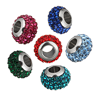 Strass Perlen European Stil, Lehm pflastern, Rondell, Edelstahl-single-Core ohne troll & mit Strass, keine, 11.50x8x11.50mm, Bohrung:ca. 5mm, 10PCs/Menge, verkauft von Menge