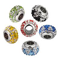 Strass Perlen European Stil, Lehm pflastern, Rondell, Edelstahl-single-Core ohne troll & mit Strass, keine, 12x8x12mm, Bohrung:ca. 5mm, 10PCs/Menge, verkauft von Menge