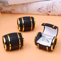 PU Leder Einzelring Kasten, mit Baumwollsamt & Zinklegierung, goldfarben plattiert, schwarz, frei von Nickel, Blei & Kadmium, 40x50x50mm, verkauft von PC