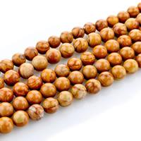 Holzmaserung Stein Perlen, Grain Stein, rund, natürlich, verschiedene Größen vorhanden, Bohrung:ca. 1mm, verkauft per ca. 15 ZollInch Strang