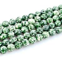 Grüner Tupfen Stein Perlen, grüner Punkt Stein, rund, natürlich, verschiedene Größen vorhanden, Bohrung:ca. 1mm, verkauft per ca. 15 ZollInch Strang