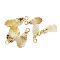 Gelbquarz Perlen Anhänger, mit Zinklegierung, goldfarben plattiert, 8x25x5mm-12x30x7mm, Bohrung:ca. 2.5mm, verkauft von PC