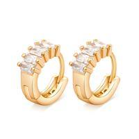 Messing Huggie Hoop Ohrringe, vergoldet, für Frau & mit kubischem Zirkonia & facettierte, frei von Nickel, Blei & Kadmium, 15X6mm, verkauft von Paar