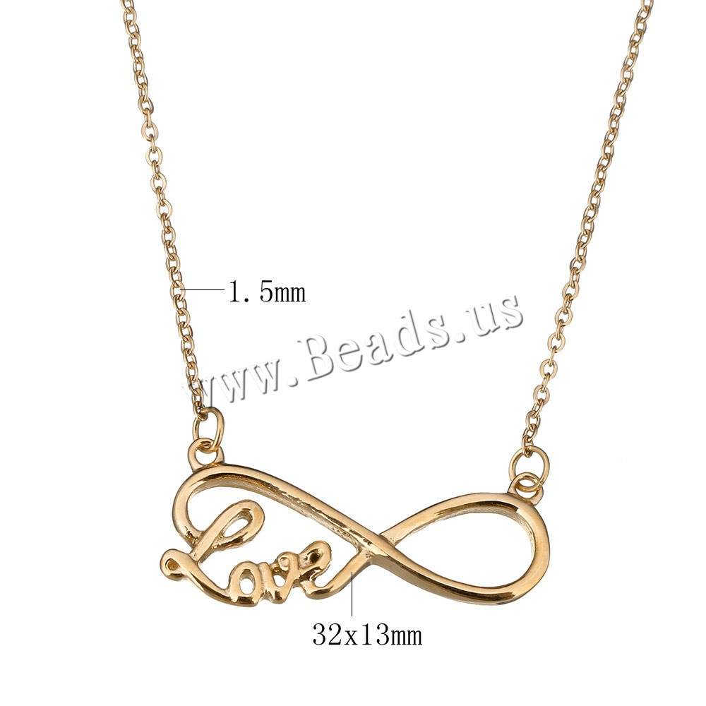 Buy Stainless Steel Jewelry Necklace 2.5lnch extender chain Infinity word love rose gold color plated oval chain & woman 32x13mm 1.5mm Sold Per Approx 16 Inch Strand
