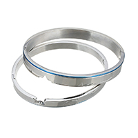 Edelstahl Paar -Armband, plattiert, 8x2.5mm, 6x2.5mm, Innendurchmesser:ca. 61x50mm, 58x48mm, 2PCs/setzen, verkauft von setzen