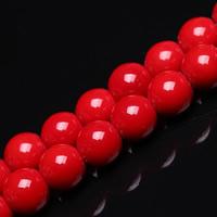 Glas Perle, rund, verschiedene Größen vorhanden, rot, Bohrung:ca. 1mm, verkauft per ca. 15 ZollInch Strang