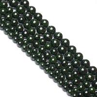 grüner Goldsandstein Perle, rund, natürlich, verschiedene Größen vorhanden, Bohrung:ca. 1mm, verkauft per ca. 15 ZollInch Strang