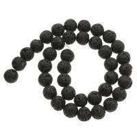 Lava Perle, rund, verschiedene Größen vorhanden, Bohrung:ca. 1mm, verkauft per ca. 15 ZollInch Strang