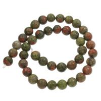 Unakite Perle, rund, verschiedene Größen vorhanden & importiert, Bohrung:ca. 1mm, verkauft per ca. 15 ZollInch Strang